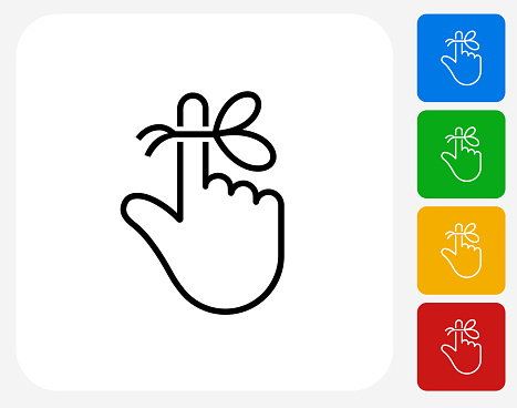 Reminder String on Finger Icon. This 100% royalty free vector illustration is featuring a blue square button with a drop shadow and the main icon is depicted in white. There are 8 additional alternative variations in different colors on the right.