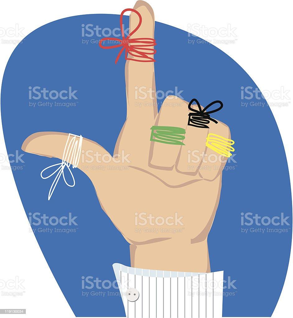 Reminder strings on fingers vector art illustration