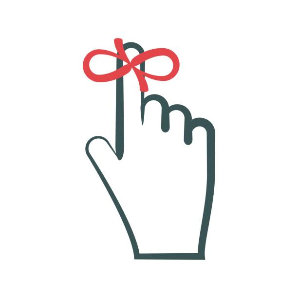 Reminder symbol. Red ribbon (string) tied on finger vector art illustration