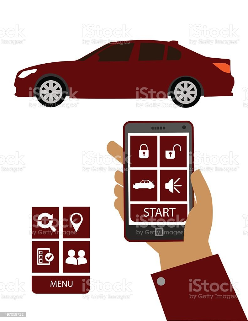 Remote Car Starter App >> Remote Car Starter App Stock Illustration Download Image