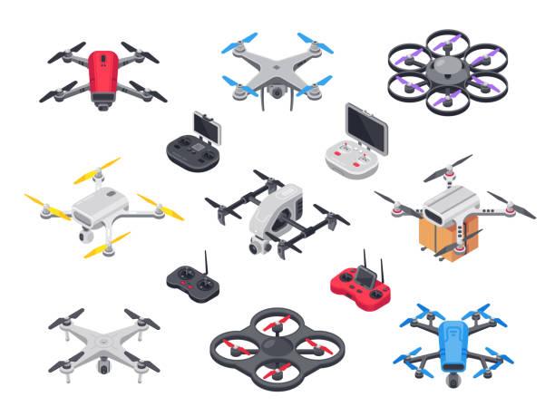 원격 제어 카메라와 함께 헬리콥터를 비행입니다. 무선 컨트롤러에 대 한 - 무인 항공기 stock illustrations