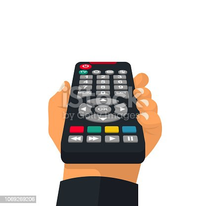 istock Remote control holding in hand 1069269206