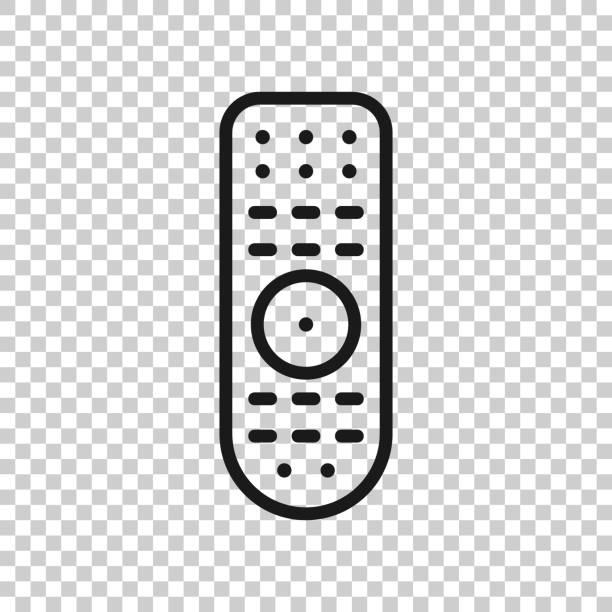 透明なスタイルのリモートコントロールアイコン。孤立した背景に赤外線コントローラのベクトルイラスト。テレビキーパッドビジネスコンセプト。 - リモート点のイラスト素材/クリップアート素材/マンガ素材/アイコン素材