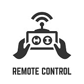 Remote control icon with wireless RC technology sign or joystick, hands, antenna and radio signal glyph symbol.