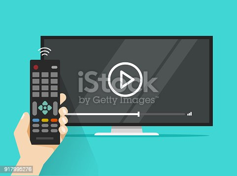 Remote control in hand near flat screen tv watching video film, cartoon person watching movie or film on television display