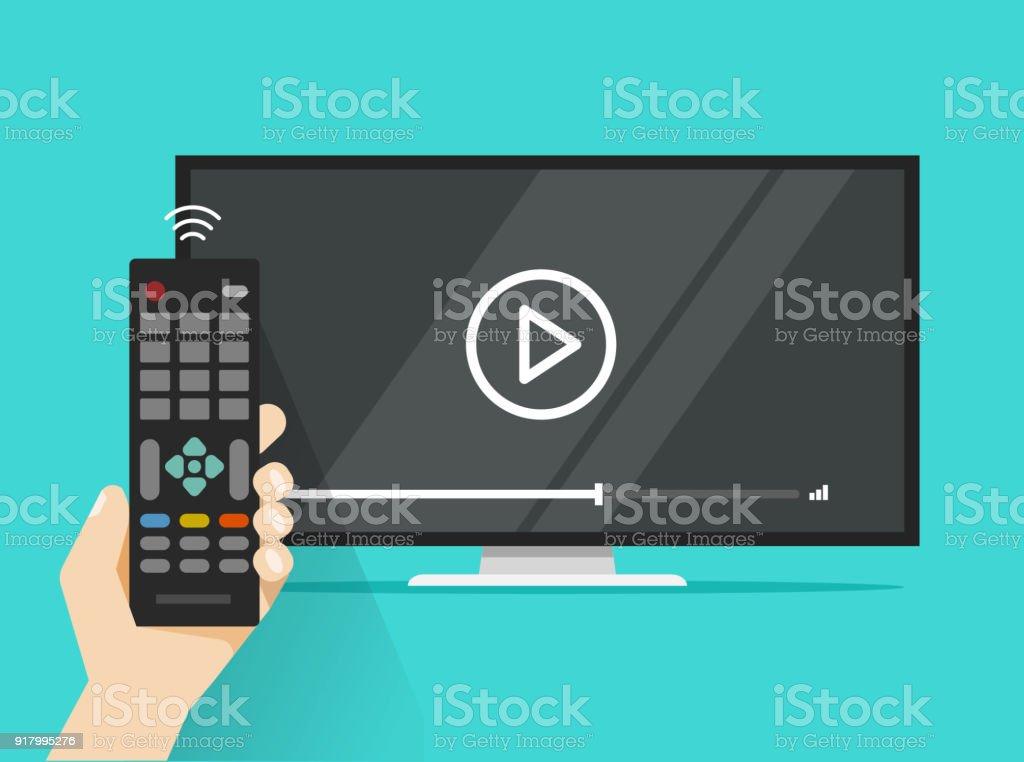Fernbedienung in der Hand in der Nähe von flach-Fernseher video Film anschauen, cartoon Design Person beobachten, Film oder Film im Fernsehen zeigen – Vektorgrafik