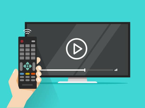 remote control in hand near flat screen tv watching video film, cartoon design person watching movie or film on television display - телевизионная индустрия stock illustrations