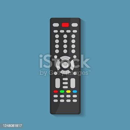 Remote control of the TV. Flat style remote control icon. Technology media. Digital device control-panel to watch video. The vector illustration is isolated on a blue background.