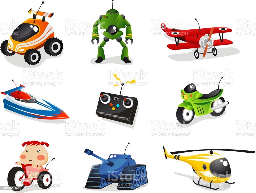 Remote control toys car robot plane ship helicopter bike vector art illustration