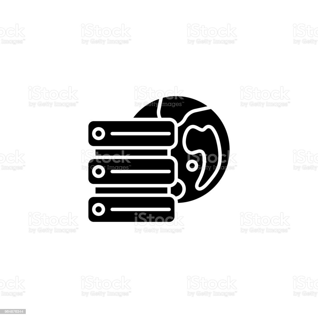 Remote database server black icon concept. Remote database server flat  vector symbol, sign, illustration. royalty-free remote database server black icon concept remote database server flat vector symbol sign illustration stock vector art & more images of accessibility