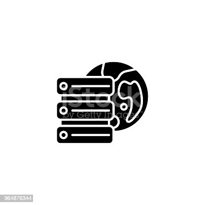 Remote Database Server Black Icon Concept Remote Database Server Flat Vector Symbol Sign Illustration Stock Vector Art & More Images of Accessibility 964876344