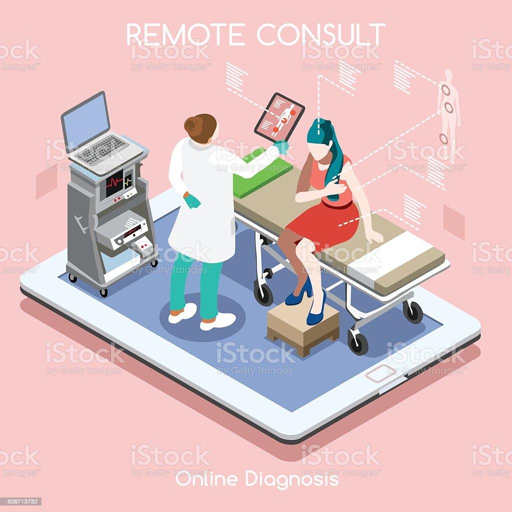 Remote Doctor 02 People Isometric vector art illustration
