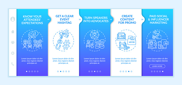 Remote event marketing onboarding vector template