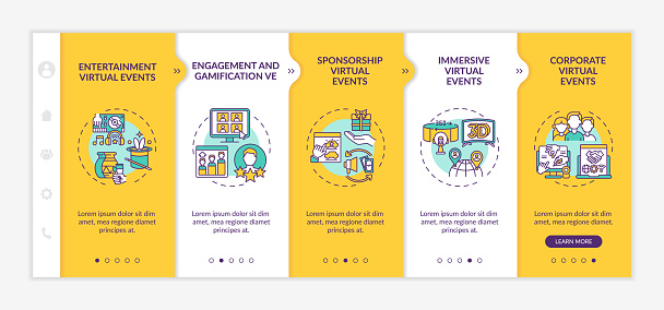 Remote events kinds onboarding vector template