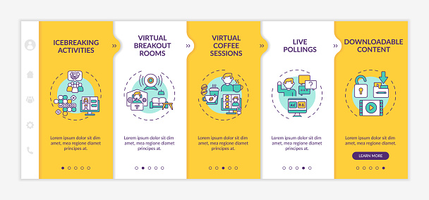Remote events success onboarding vector template