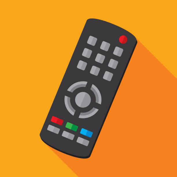 TV Remote Icon Flat Vector illustration of a TV remote against an orange background in flat style. watching tv stock illustrations