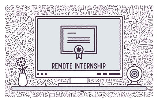 Remote Internship Vector Doodle Design