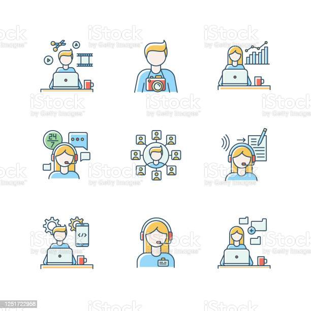 Remote Jobs Rgb Color Icons Set Technical And Admin Support Seo And Marketing Photography And Video