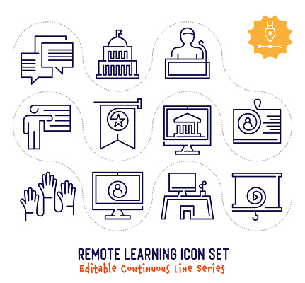 Remote Learning Editable Continuous Line Icon Pack