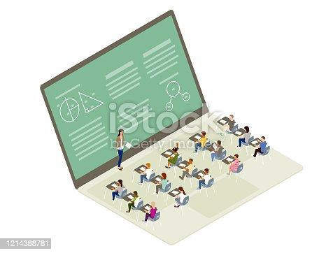 istock Remote learning illustration 1214388781