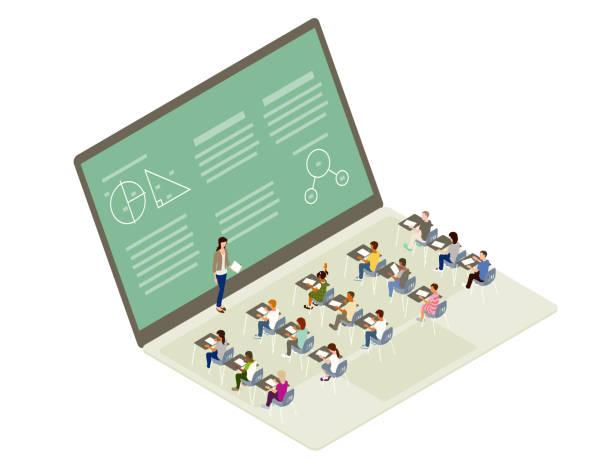 ilustrações, clipart, desenhos animados e ícones de ilustração de aprendizagem remota - e-learning not icons