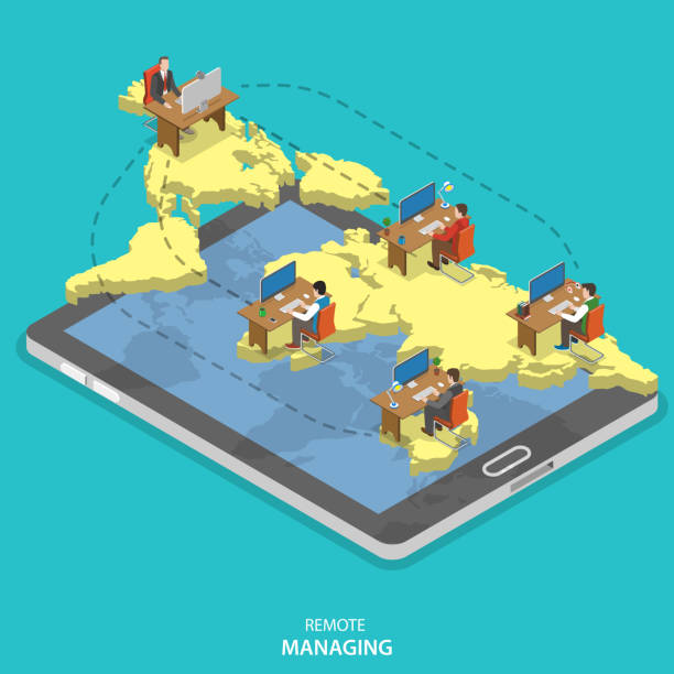 remote managing isometric flat vector concept. - telecommuting stock illustrations, clip art, cartoons, & icons
