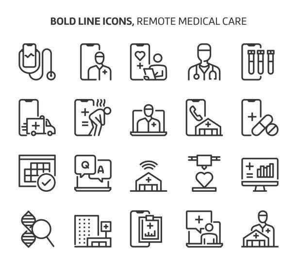 ilustraciones, imágenes clip art, dibujos animados e iconos de stock de atención médica remota, iconos de líneas audaces. - telehealth