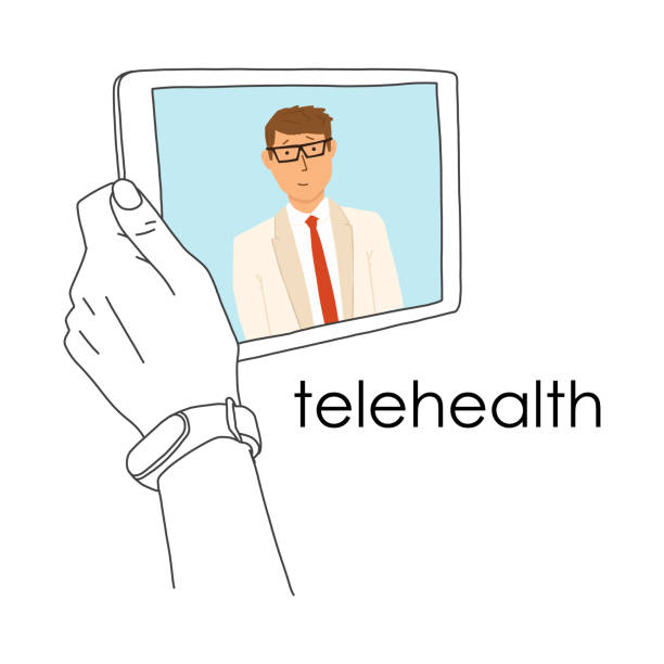 remote medicine application tablet, telehealth. - medical technology stock illustrations