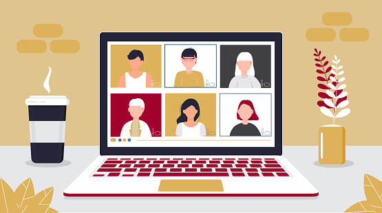 Remote school class is studying. Video call conference concept vector. Social distancing during quarantine. University online course illustration. Teleconference webinar concept.