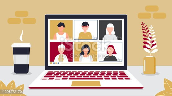 Remote school class is studying. Video call conference concept vector. Social distancing during quarantine. University online course illustration. Teleconference and webinar concept.