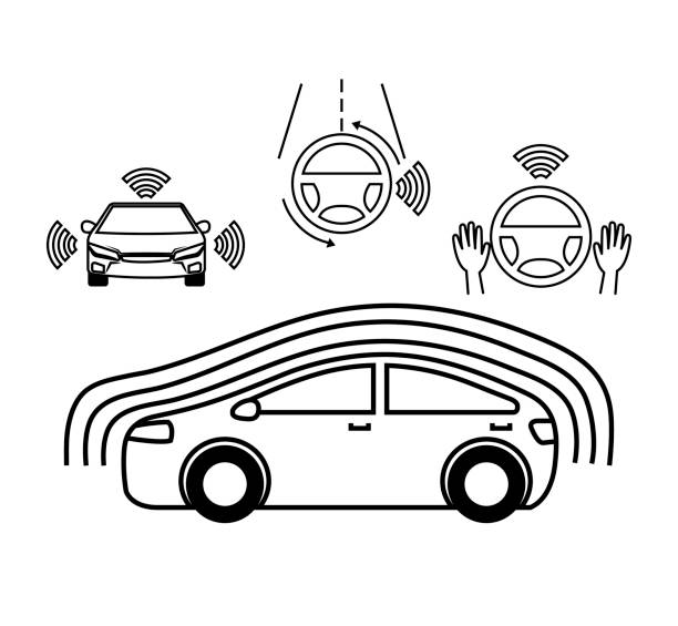 remote sensing-system von smart auto fahrzeug-vorderansicht - infrarotfotografie stock-grafiken, -clipart, -cartoons und -symbole