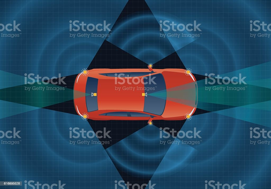Remote Sensing System of Vehicle. various cameras and sensors vector art illustration