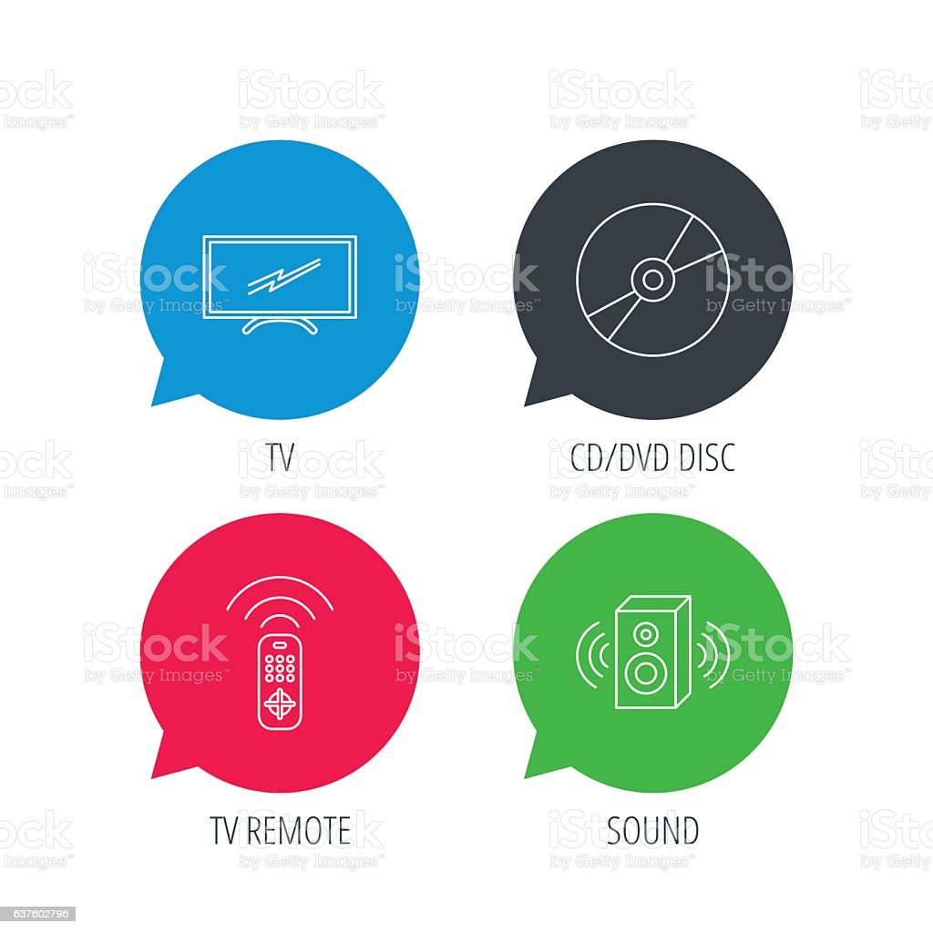 tv remote, sound and dvd disc icons  royalty-free tv remote sound and
