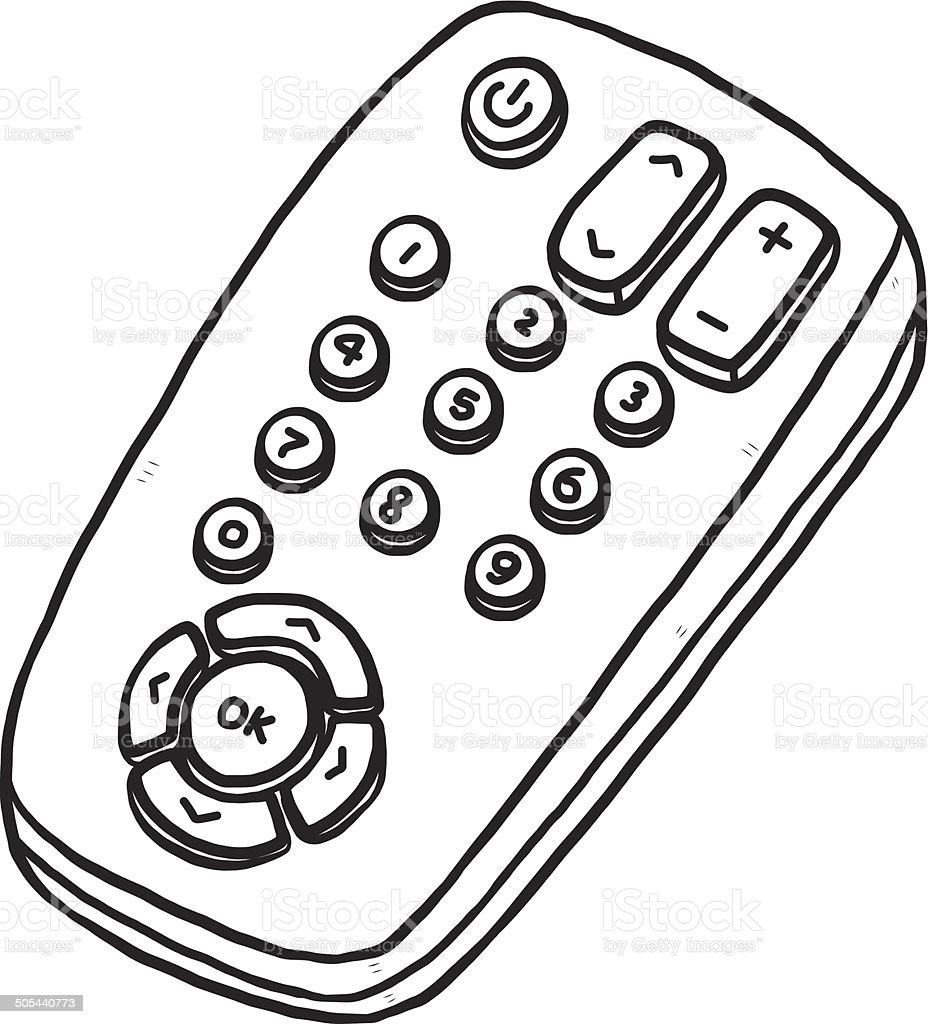royalty free remote control television sketch drawing clip