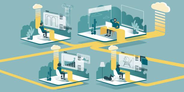 ilustrações de stock, clip art, desenhos animados e ícones de remote work and learning with cloud technology - teletrabalho