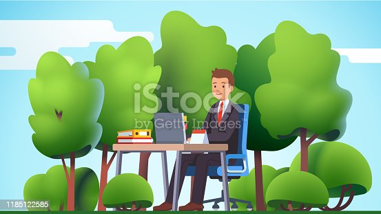 istock Remote work & freelance concept. Business man working outside in the nature forest or park office, sitting at desk with laptop computer typing. Green outdoors. Flat vector illustration 1185122585