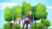 Remote work & freelance concept. Business man working outside in the nature forest or park office, sitting at desk with laptop computer typing. Green outdoors. Flat style vector character illustration