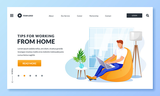 Remote work, freelance job, work from home concept. Businessman sitting on armchair with laptop. Vector illustration