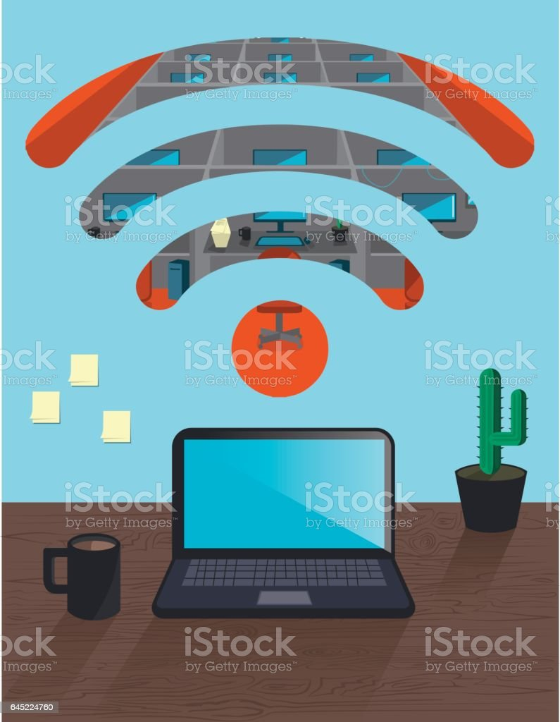 Remote work from home office vector art illustration