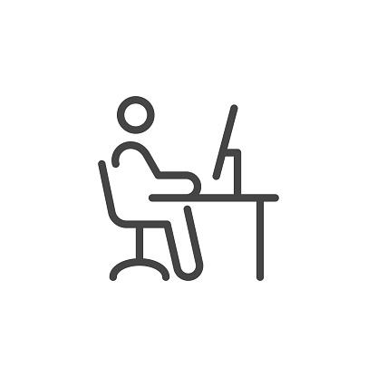Remote Work. Line Symbol Worker Man at the Desk Designer-Freelancer. Icon in Outline Style From the Set Icons of Coworking and Workplace or Workspace. Custom Vector Pictogram Editable Stroke