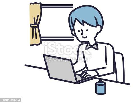 istock Remote work male simple illustration 1305753204