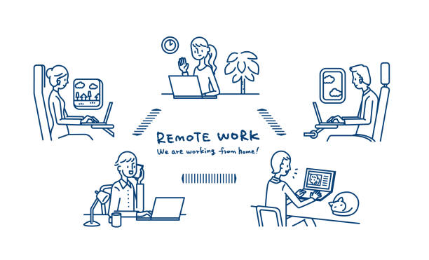 remote work - working from home stock illustrations