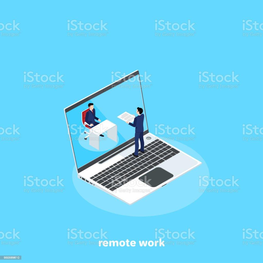 remote work vector art illustration