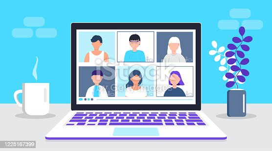 Remote work vector. School class is studying. Video call conference concept. Social distancing during quarantine. University online course illustration. Teleconference and webinar concept.