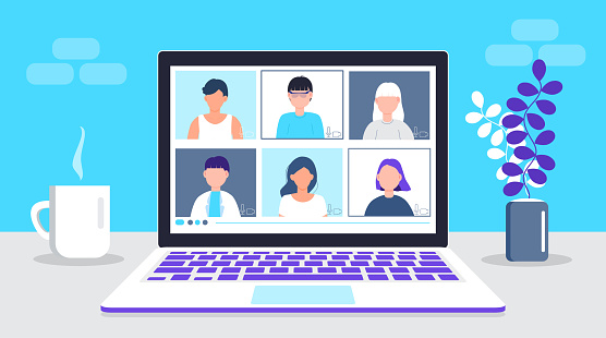 Remote work vector. School class is studying. Video call conference concept. Social distancing during quarantine. University online course illustration. Teleconference and webinar