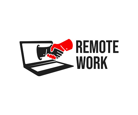 Remote work, video chat and online conference, design. Innovation technology, online business and computer technology, vector design and illustration