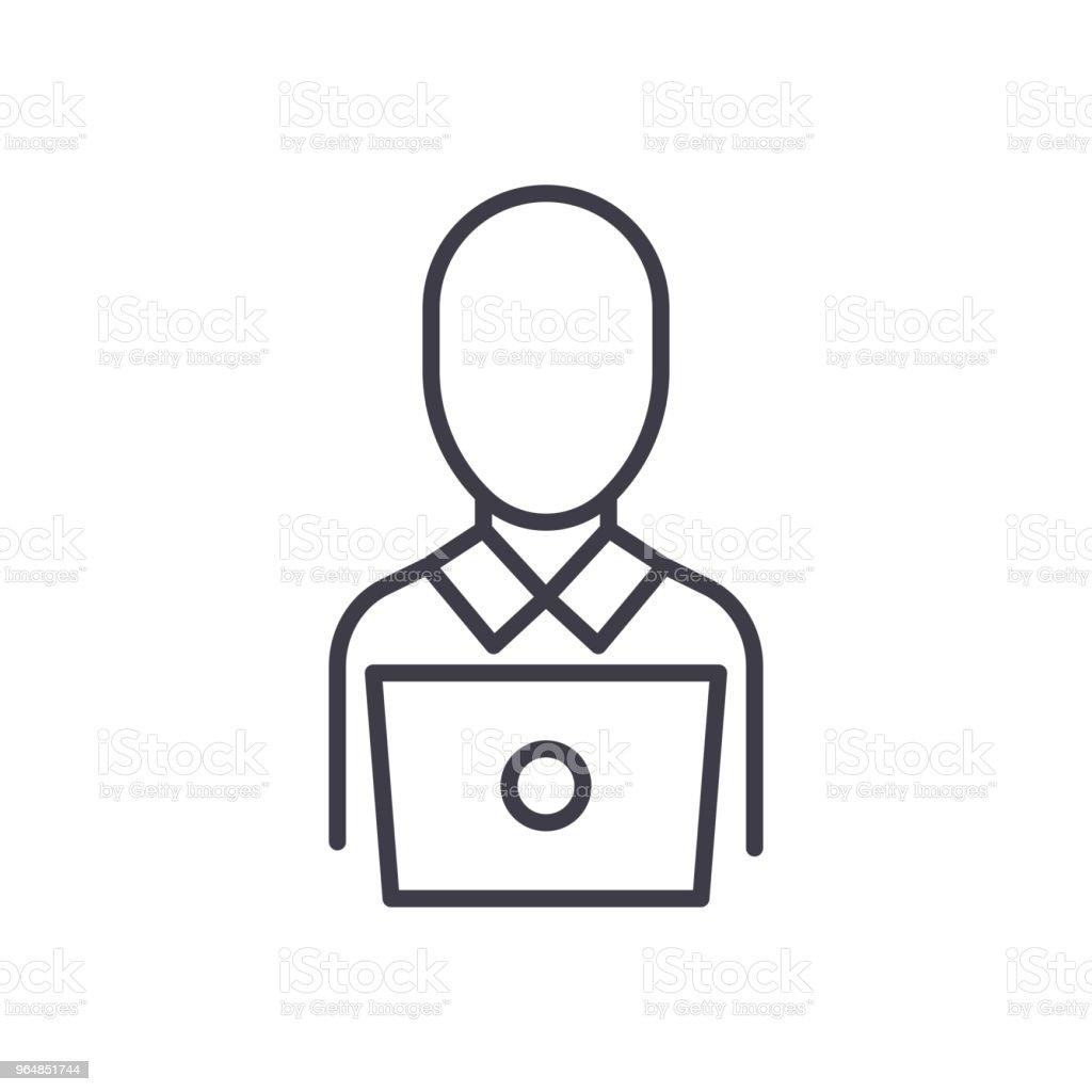 Remote worker black icon concept. Remote worker flat  vector symbol, sign, illustration. royalty-free remote worker black icon concept remote worker flat vector symbol sign illustration stock vector art & more images of adult