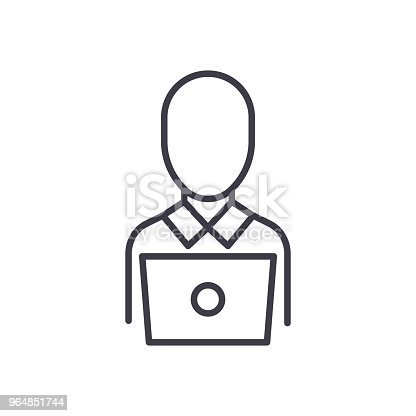 Remote Worker Black Icon Concept Remote Worker Flat Vector Symbol Sign Illustration Stock Vector Art & More Images of Adult 964851744