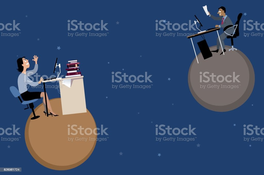 Remote workers and teamwork vector art illustration