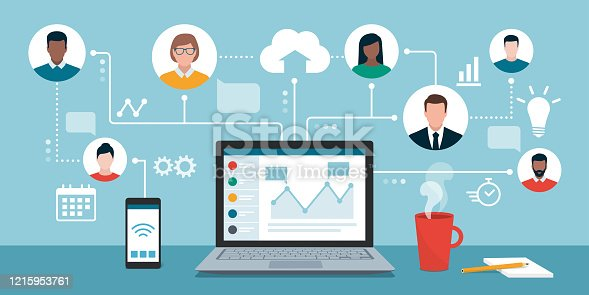 istock Remote working and virtual business team 1215953761
